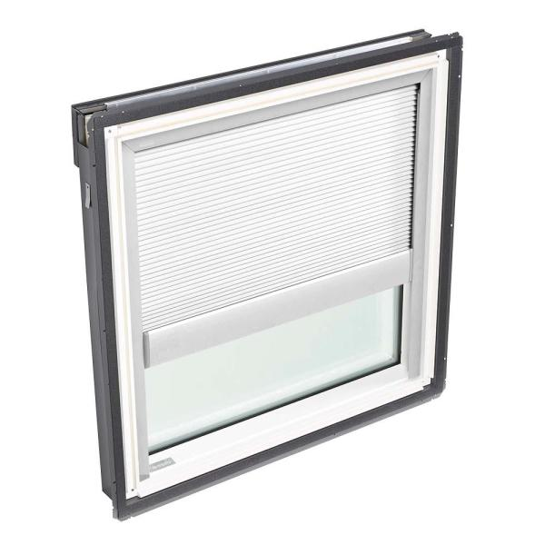 44-1/4 in. x 45-3/4 in. Fixed Deck-Mount Skylight with Laminated Low-E3 Glass and White Manual Light Filtering Blind