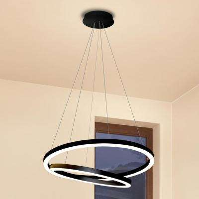 Tania Duo 60-Watt Black Integrated LED Adjustable Modern Chandelier 24 in.