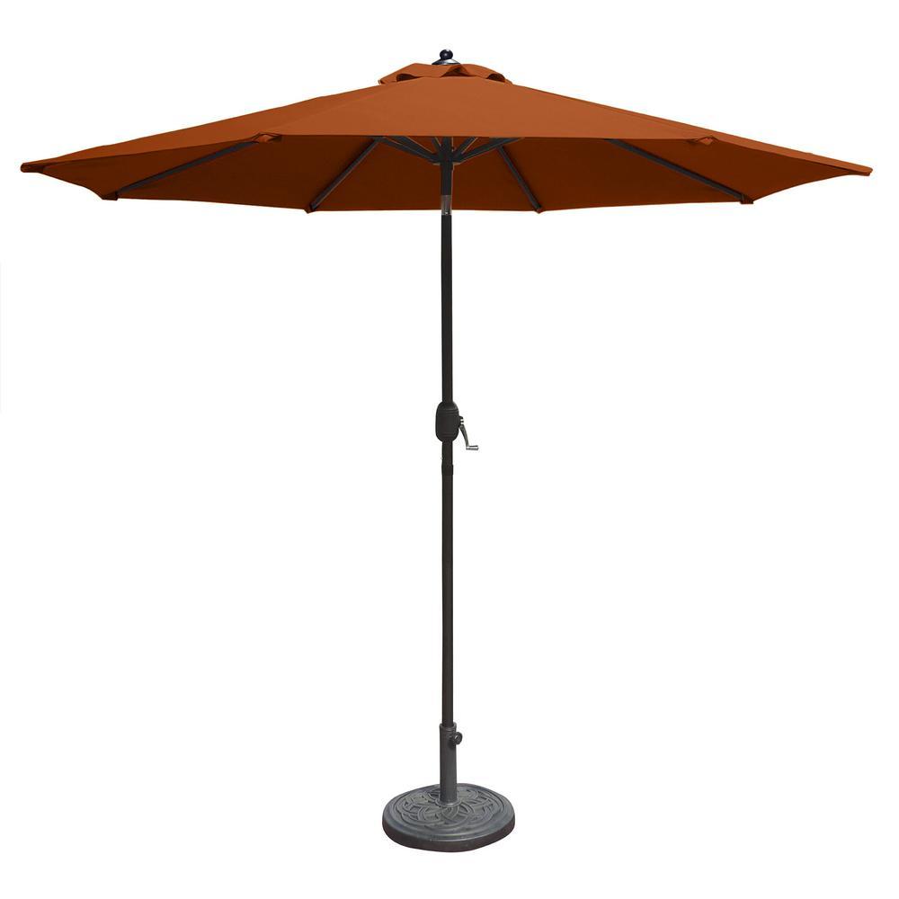 Island Umbrella Mirage 9 ft. Octagonal Market Umbrella with Auto-Tilt in Terra Cotta Olefin