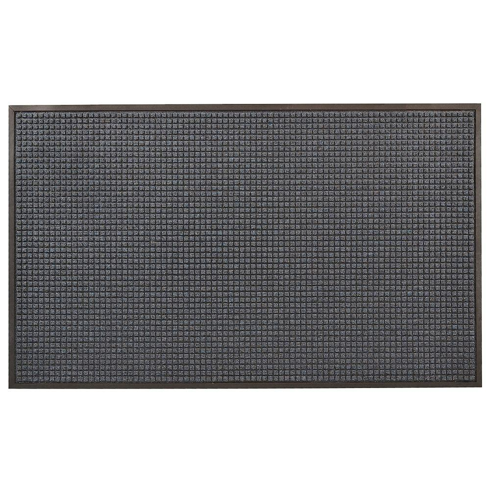 HomeTrax Designs Guzzler Blue 48 in. x 72 in. Rubber-Backed Entrance Mat Guzzler features a raised waffle pattern made with a tufted Decalon yarn that facilitates the scraping and drying process while a channel design traps moisture and debris. In addition, a raised rubber border on all 4 sides of the mat acts as a containment barrier ensuring that moisture and dirt is not carried further into the home. The low profile also works well with narrow clearance doorways. Crisp patterns, contemporary designs and aesthetically pleasing color choices complement any decor or setting making it the perfect entrance mat for any doorway. Color: Blue.