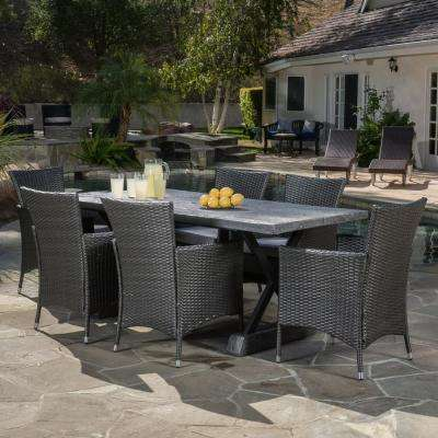 Capri Gray 7-Piece Wicker Outdoor Dining Set with Grey Cushions