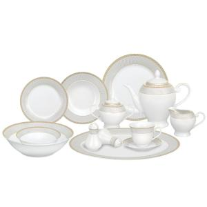 cac59e9dccbe6 Lorren Home Trends 57-Piece Gold Border Porcelain Dinnerware Set-Alina-GD -  The Home Depot