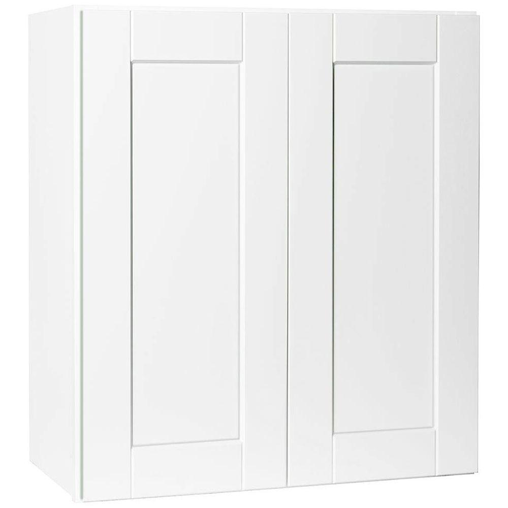 hampton bay shaker assembled 27x30x12 in wall kitchen cabinet in satin white kw2730 ssw the. Black Bedroom Furniture Sets. Home Design Ideas