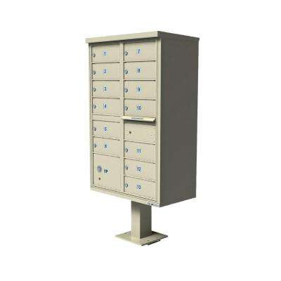 Vital 1570 Series Sandstone CBU with 13 Mailboxes, 1 Outgoing Mail Compartment, 1 Parcel Locker