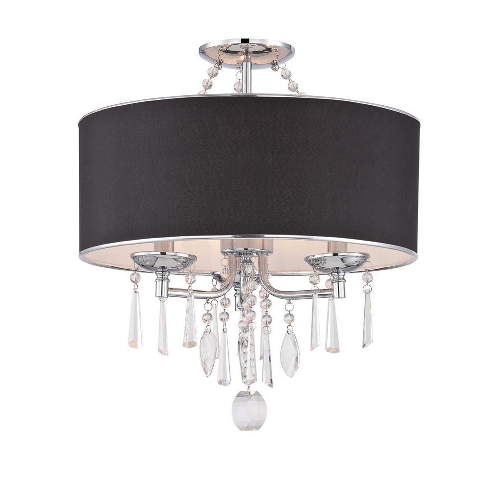 Elton Collection 3-Light Chrome Semi-Flush Mount Light with Black Shade