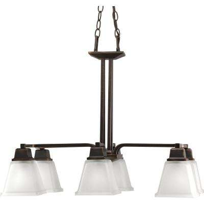 North Park 6-Light Venetian Bronze Chandelier with Etched Glass Shade
