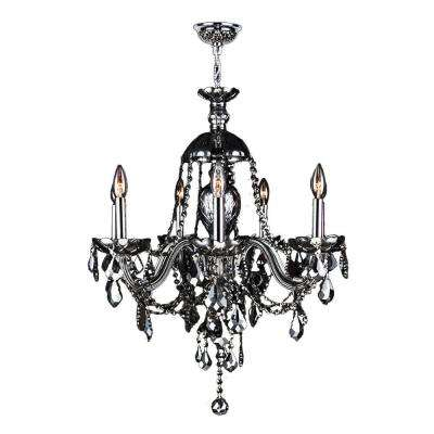 Provence Collection 7-Light Chrome Finish and Smoke Crystal Chandelier