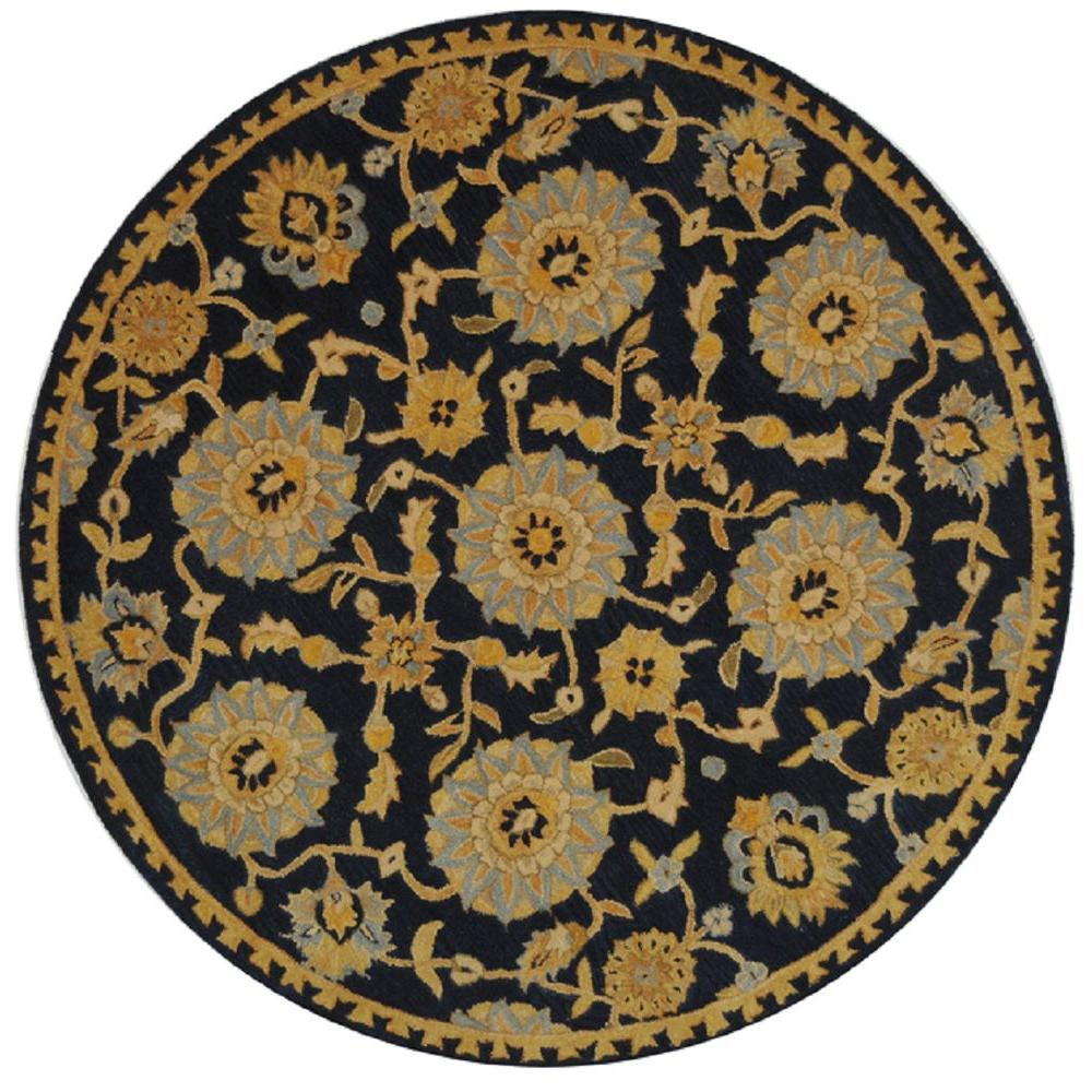 safavieh anatolia navy 4 ft x 4 ft round area rug an537a 4r the home depot. Black Bedroom Furniture Sets. Home Design Ideas