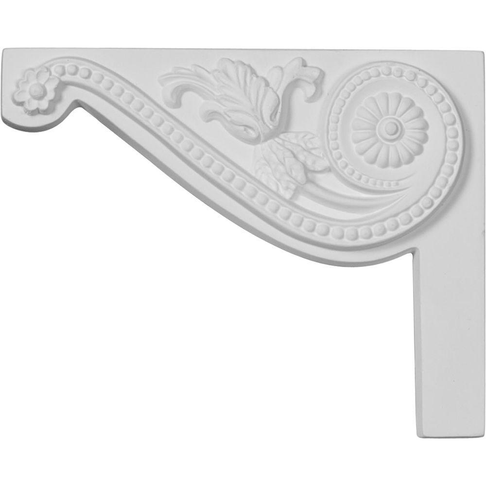 3/4 in. x 8 in. x 6-1/2 in. Polyurethane Left Pearl Stair Bracket Moulding