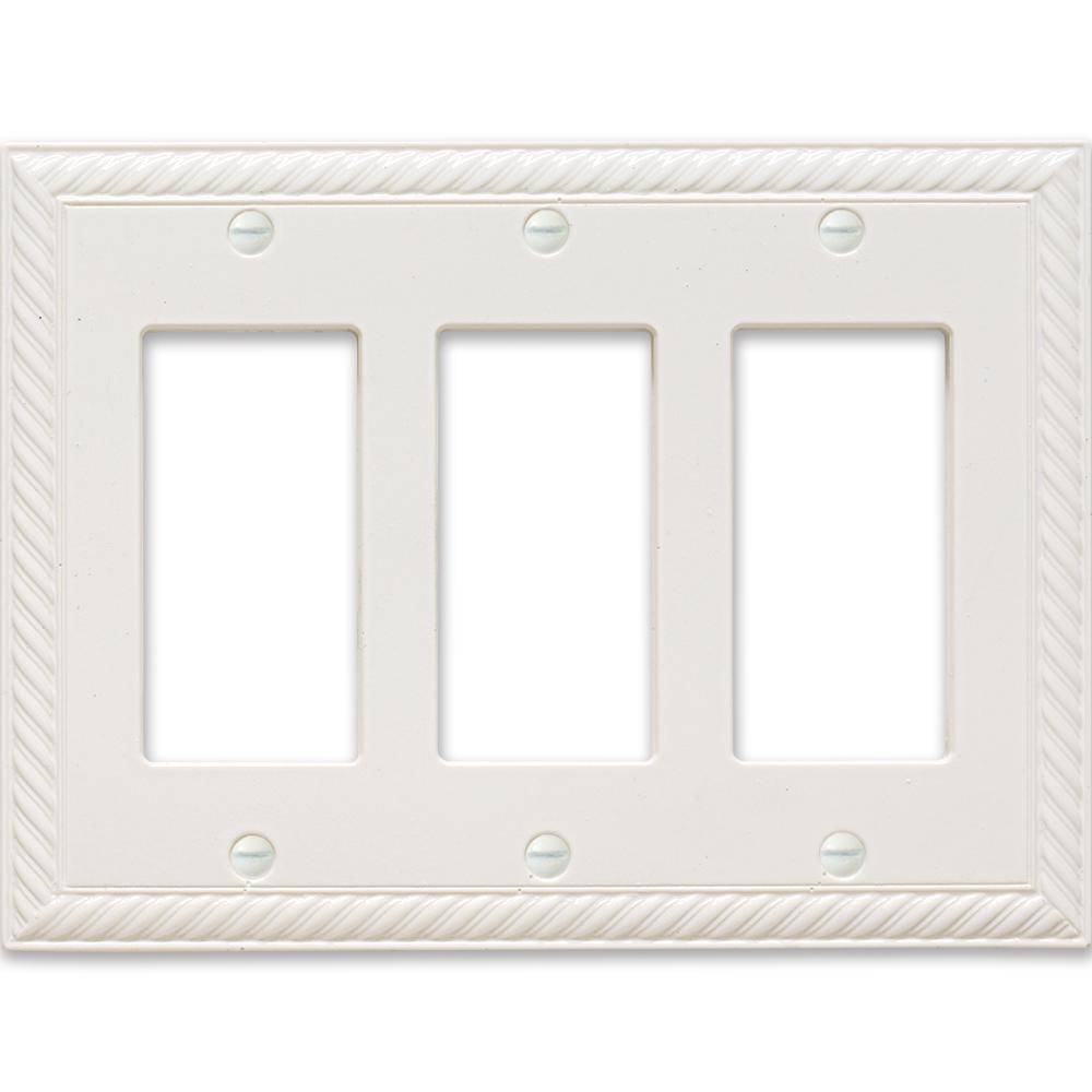 3-Gang Decor Wall Plate, White