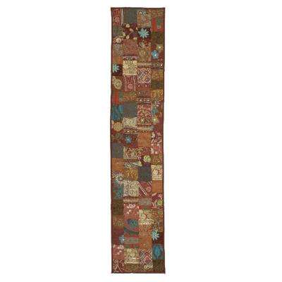 16 in. H x 80 in. W Cotton and Poly Recycled Sari Maroon Patchwork Table Runner