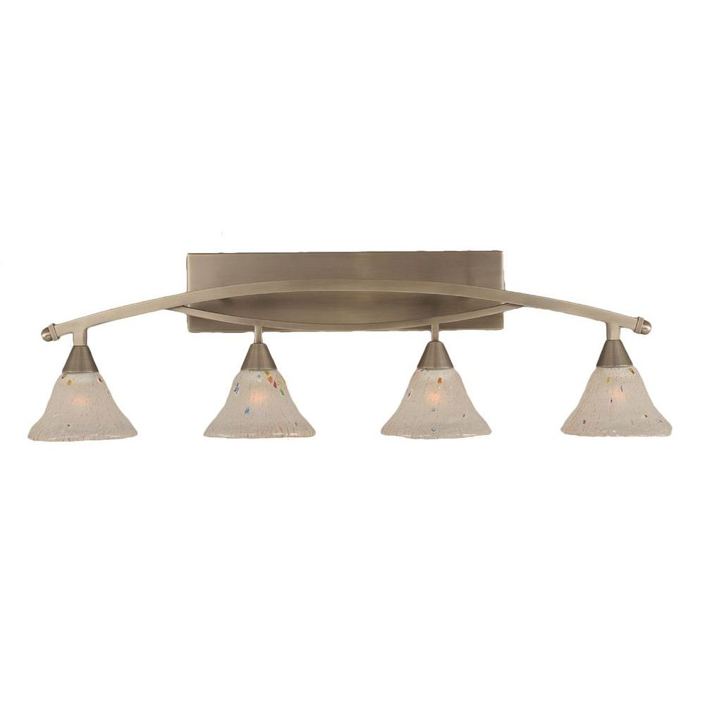 Allard 4-Light Brushed Nickel Bath Vanity Light with Frosted Crystal Glass