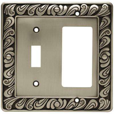 Paisley Decorative Switch and Rocker Switch Plate, Brushed Satin Pewter
