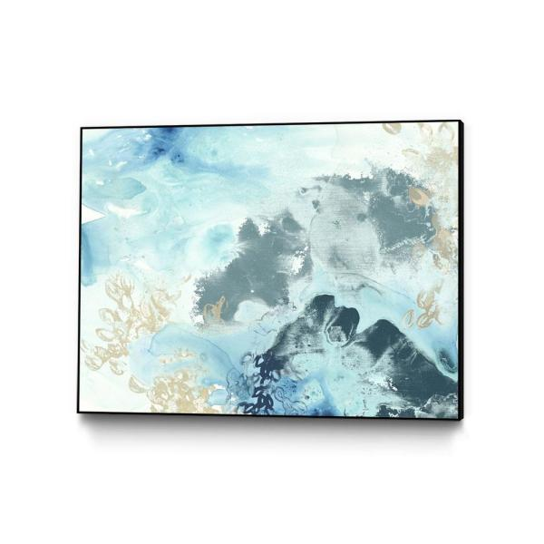 30 in. x 40 in. ''Aqua Wave Form I'' by June Erica Vess Framed Wall Art