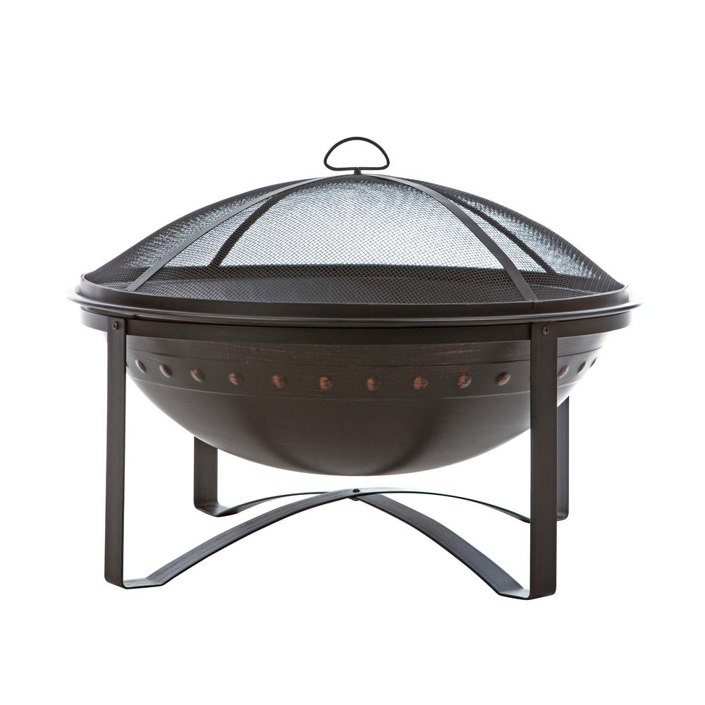 Fire Sense Highland 29 in. x 29 in. Round Steel Wood Burning Fire Pit in Brushed Bronze with Fire Tool