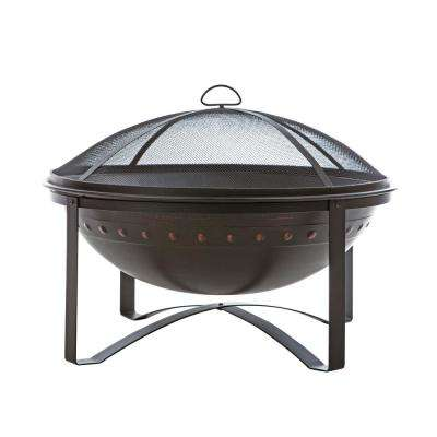 Highland 29 in. x 29 in. Round Steel Wood Burning Fire Pit in Brushed Bronze with Fire Tool