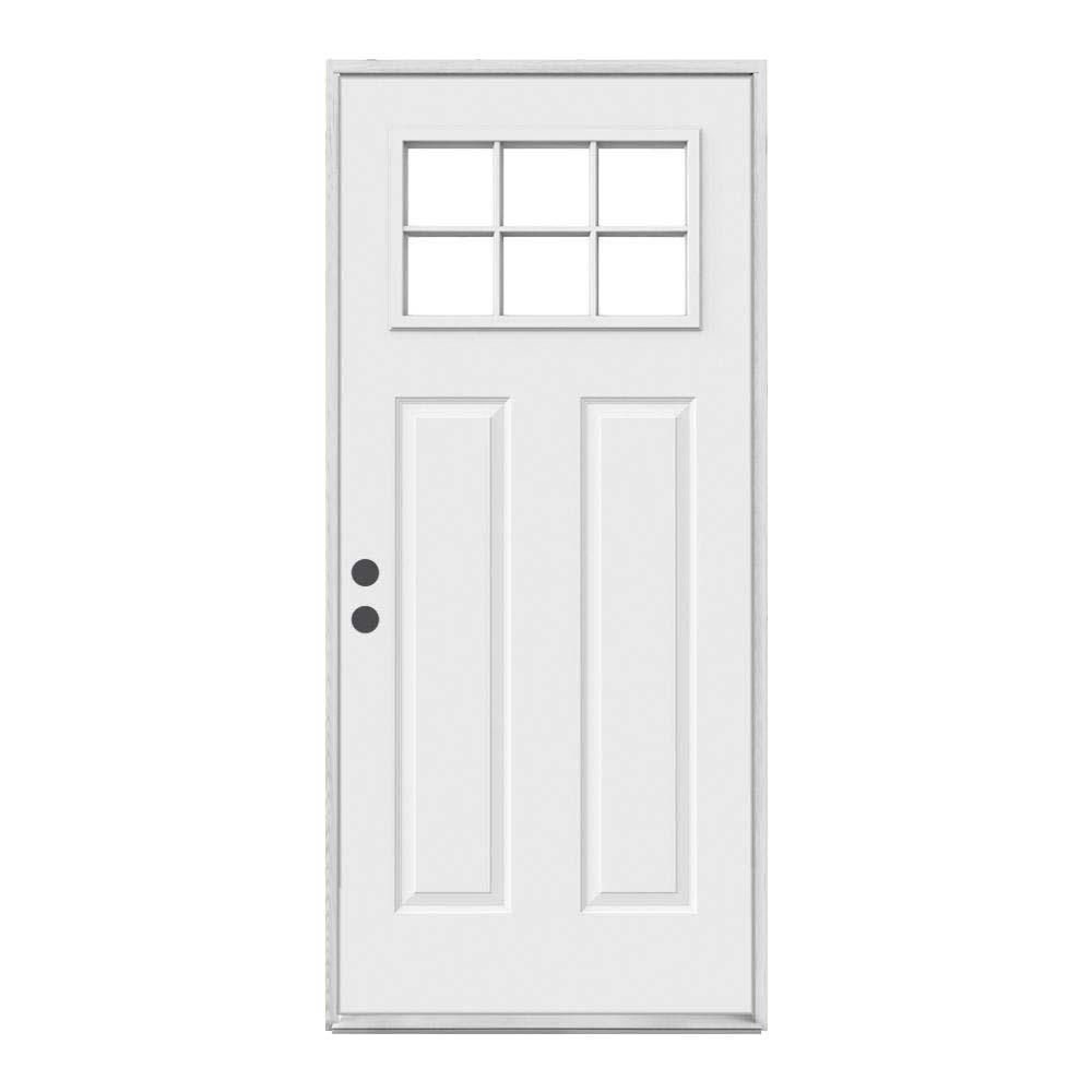 JELD-WEN 32 in. x 80 in. Craftsman Primed Right-Hand Inswing 6-Lite Clear Steel Prehung Front Door
