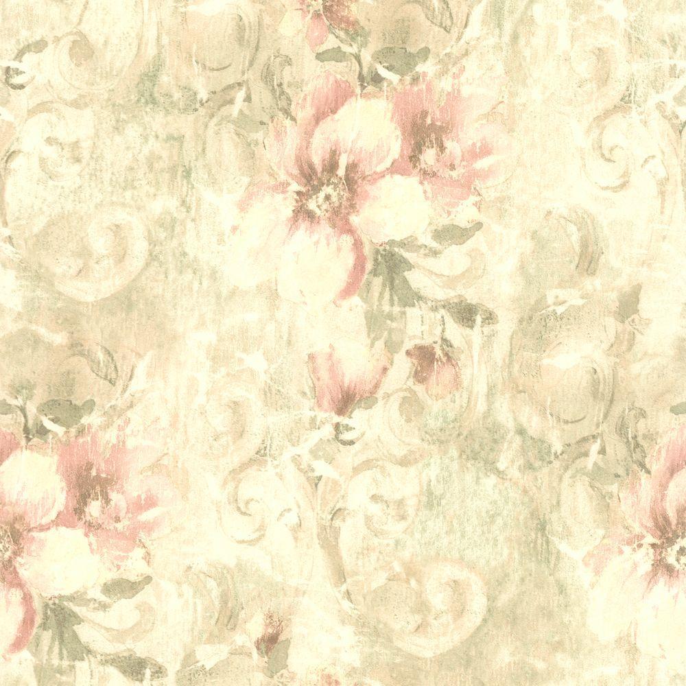 null Pergoda Pink Floral Texture Wallpaper
