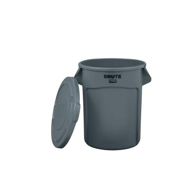 BRUTE 20 Gal. Round Vented Trash Can with Lid