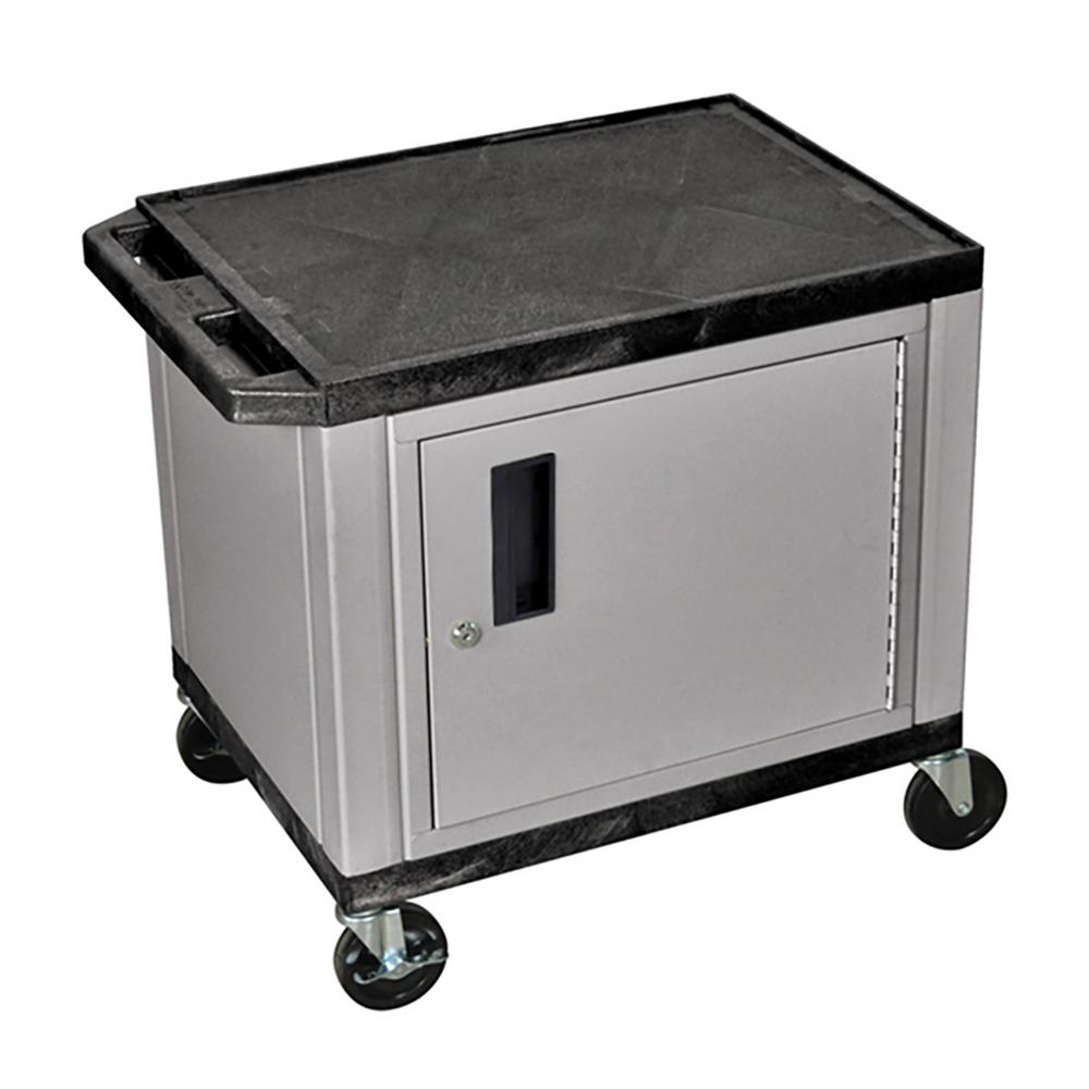 WT 26 in. A/V Cart with Nickel ColoRed Cabinet, Black Shelves