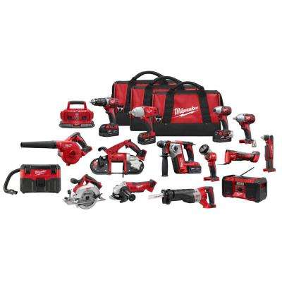 M18 18-Volt Lithium-Ion Cordless Combo Tool Kit (15-Tool) with Four 3.0 Ah Batteries, 1 Charger, 2 Tool Bag