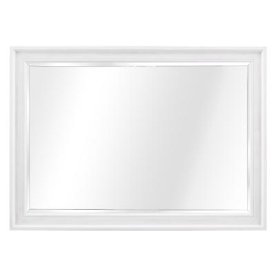 42 in. W x 30.0 in. H Framed Rectangular Beveled Edge Bathroom Vanity Mirror in White Wash