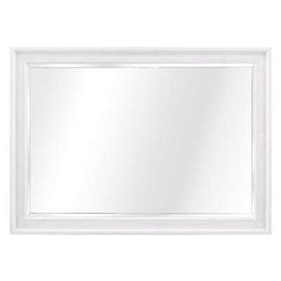 Ashview 42 in. W x 30 in. H Single Framed Wall Mirror in White Wash
