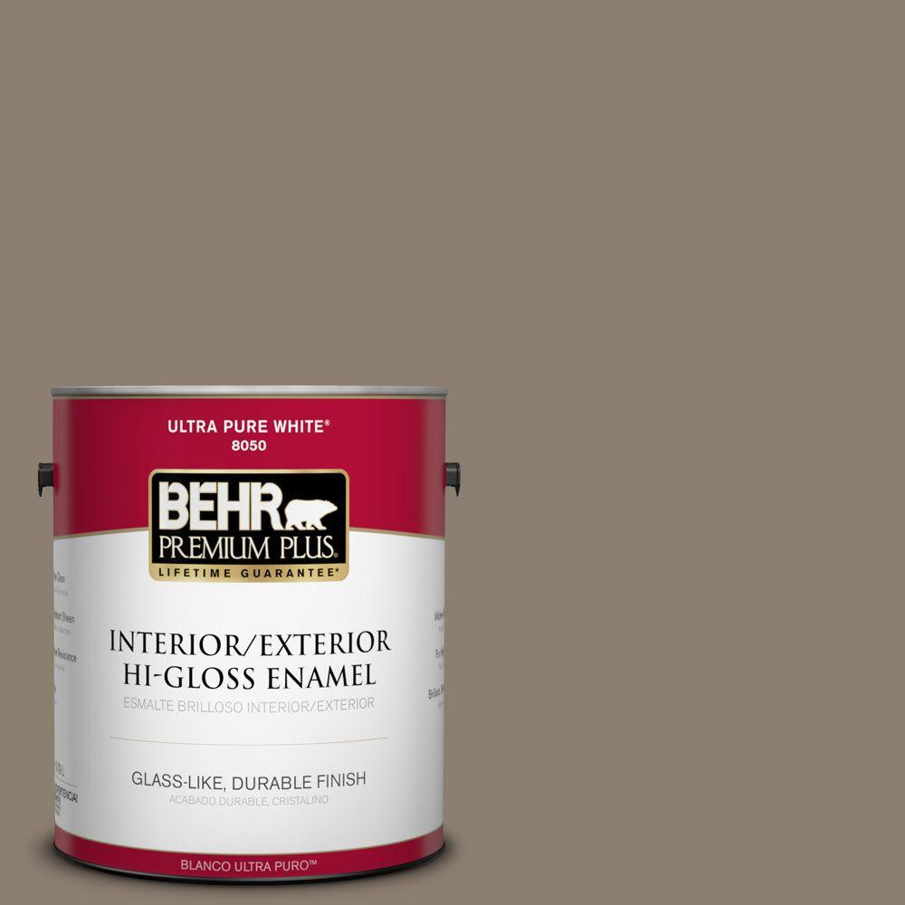 BEHR Premium Plus 1-gal. #BNC-36 Restful Brown Hi-Gloss Enamel Interior/Exterior Paint