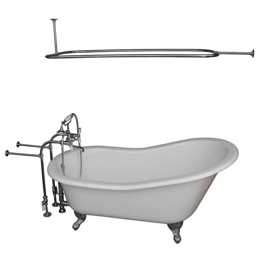 Barclay Products 5 ft. Cast Iron Ball and Claw Feet Slipper Tub in White with Polished Chrome Accessories
