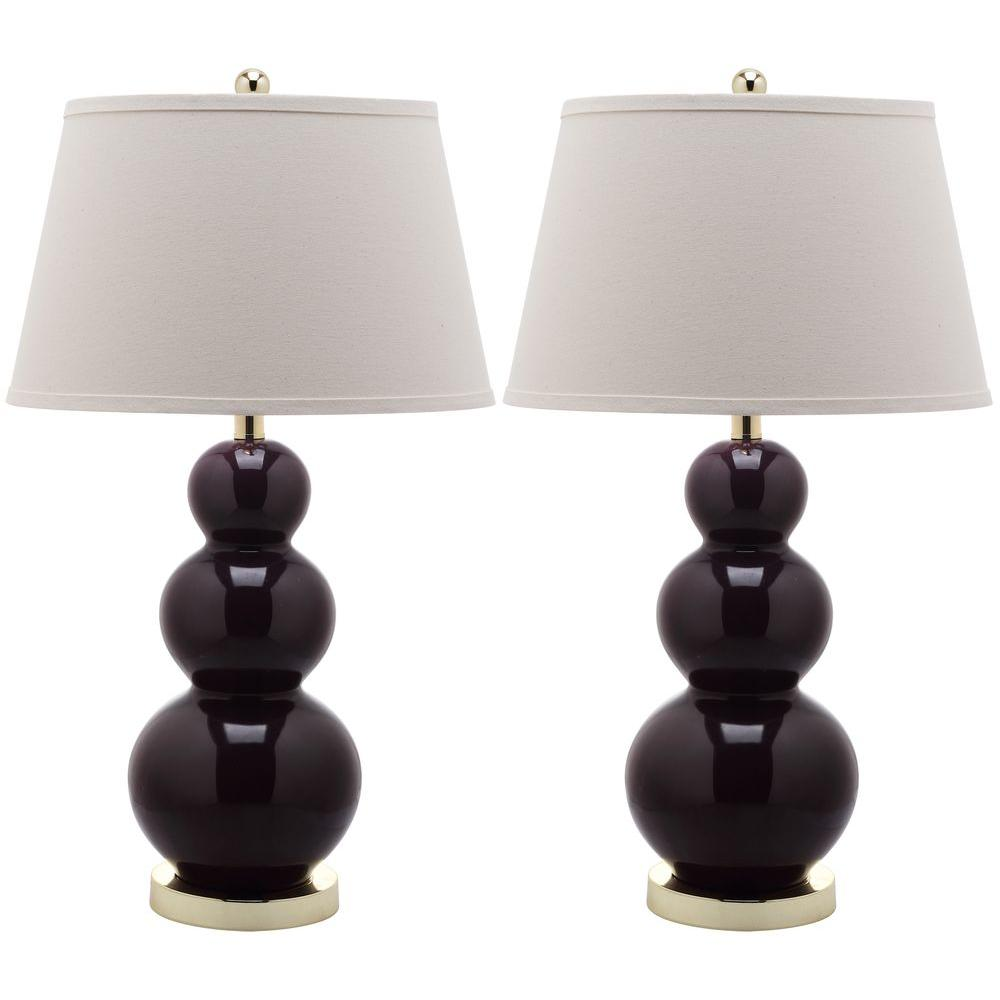 Pamela 27 In Dark Purple Triple Gourd Ceramic Lamp Set Of