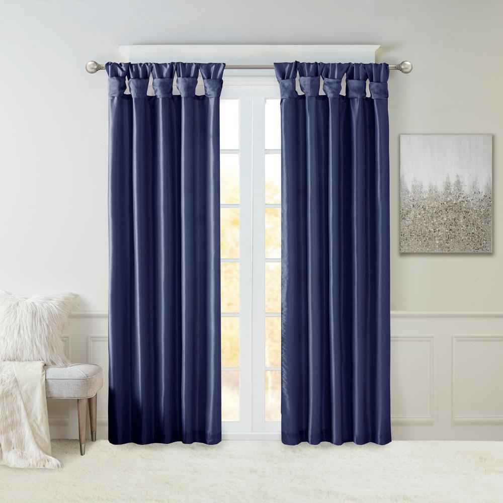 Natalie Navy Faux Fur Room Darkening Twist Tab Lined Window Curtain 50 in. W x 95 in. L