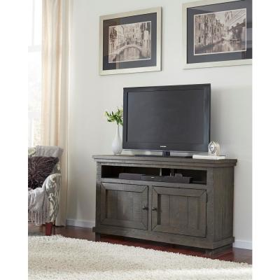 Willow 54 in. Distressed Dark Gray Wood TV Stand Fits TVs Up to 60 in. with Storage Doors