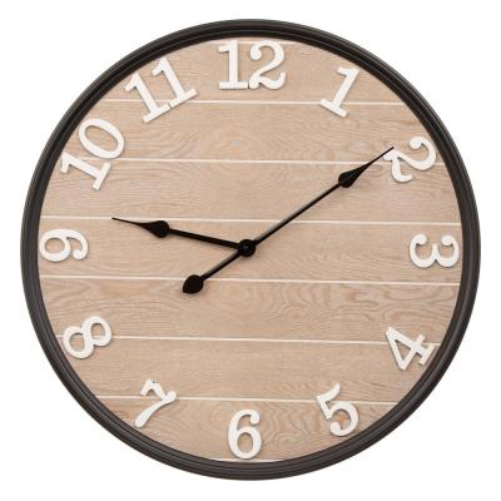 23.60 in. D Farmhouse Metal/Wooden Wall Clock