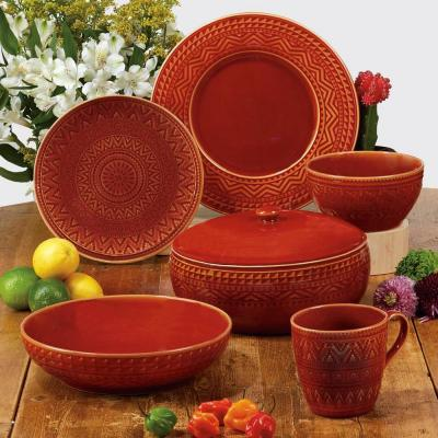 Aztec 16-Piece Patterned Multi-Colored Stoneware Dinnerware Set (Service for 4)