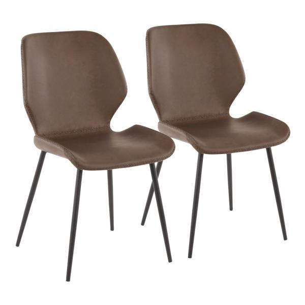 Black Metal Industrial Serena Chair With Brown Faux Leather (Set Of 2)