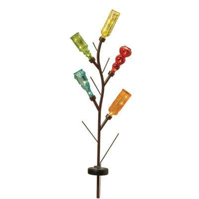 43 in. Solar Lighted Metal & Glass Bottle Yard Stake