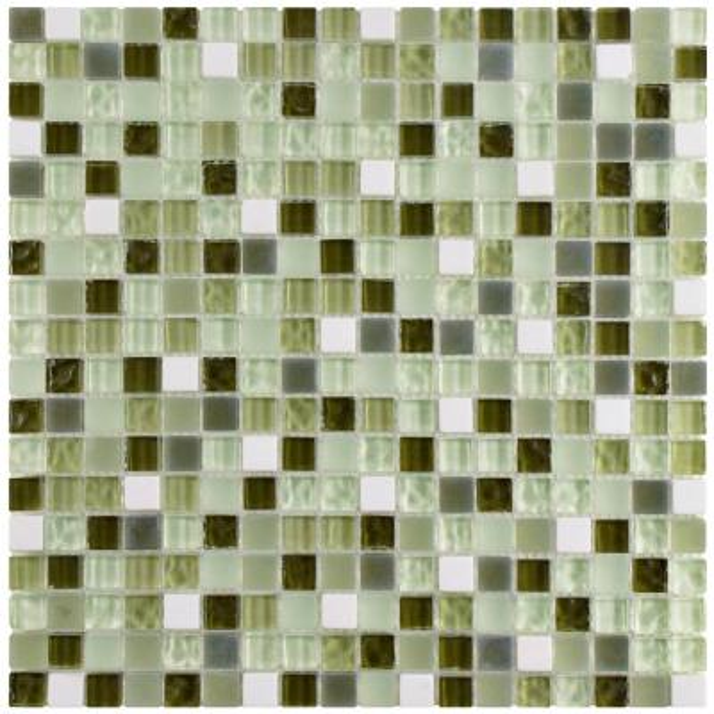 Tessera Mini Emerald Isle 11-3/4 in. x 11-3/4 in. x 8 mm Glass and Stone Mosaic Tile