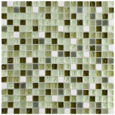 Tessera Mini Emerald Isle 11-3/4 in. x 11-3/4 in. x 8 mm Glass and Stone Mosaic Tile