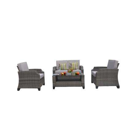 Mancha 4-Piece Wicker Patio Conversation Set with Grey Cushions