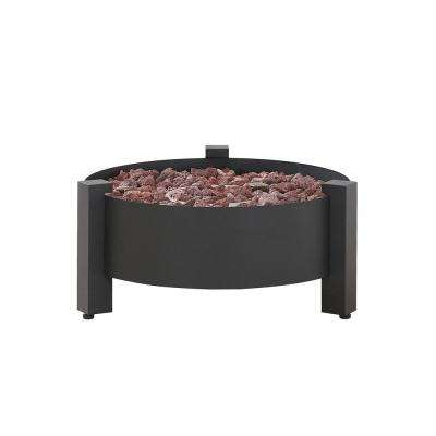 Paisley 31 in. Round Powder Coated Steel Gas Fire Pit in Charcoal
