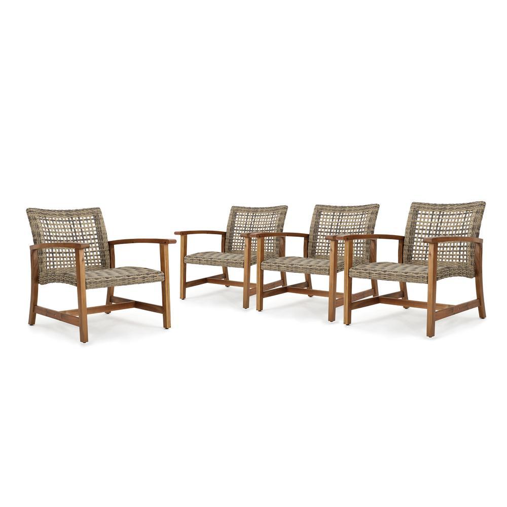 Hampton Grey Armed Polyethylene Wicker Outdoor Arm Chair (4-Pack)