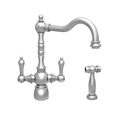Englishhaus 2-Handle Standard Kitchen Faucet with Side Spray in Polished Chrome