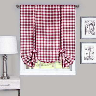 42 in. W x 63 in. L Buffalo Burgundy Cotton Tie Up Shade Curtain