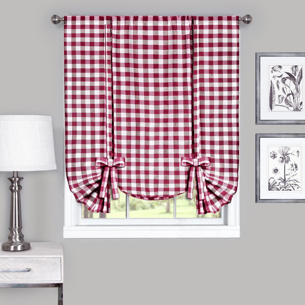 Achim 42 in. W x 63 in. L Buffalo Burgundy Cotton Tie Up Shade Curtain