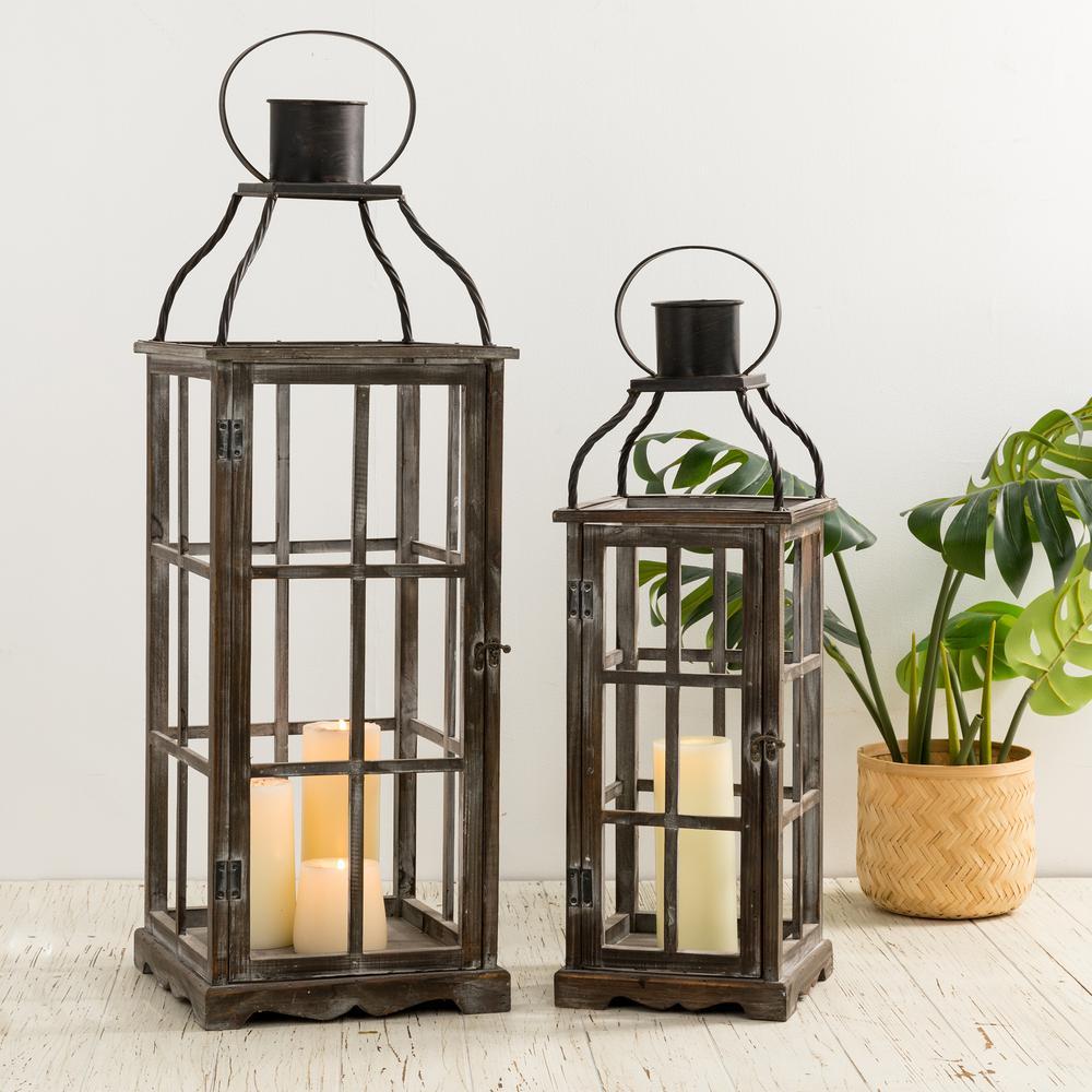 Oversized Natural Grey Farmhouse Wood/Metal Lantern (Set of 2)