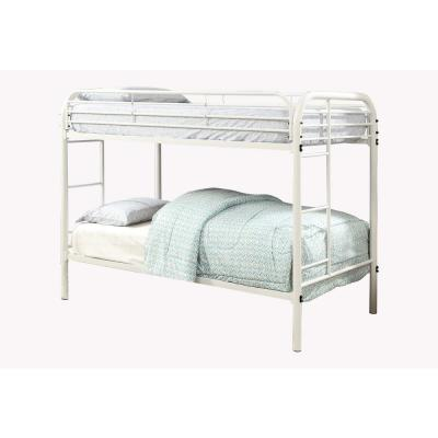 White Opal Metal Twin over Twin Bunk Bed