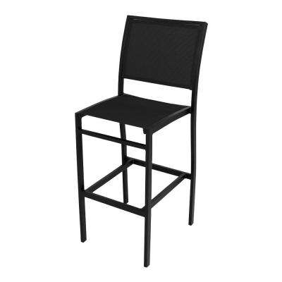 Bayline Textured Black All-Weather Aluminum/Plastic Outdoor Bar Side Chair in Black Sling