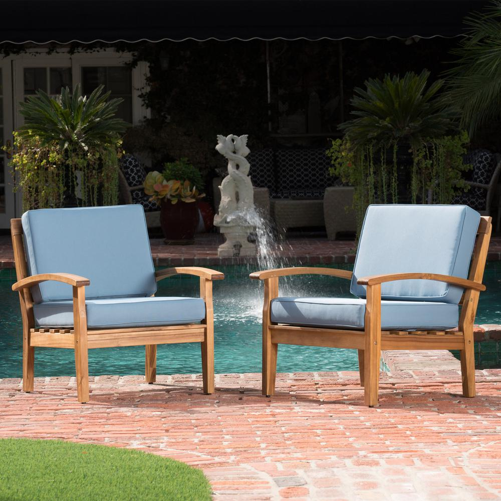 Noble House Teak Brown Slatted Wood Outdoor Lounge Chairs with Blue Cushion (2-Pack)