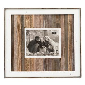 Rustic 8 inch x 10 inch Natural Planked Distressed Wood Picture Frame by