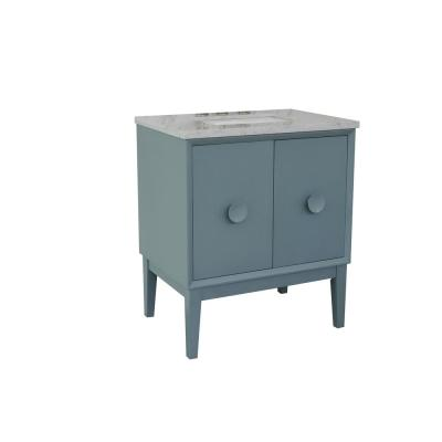 Stora 31 in. W x 22 in. D Bath Vanity in Aqua Blue with Marble Vanity Top in White with White Rectangle Basin